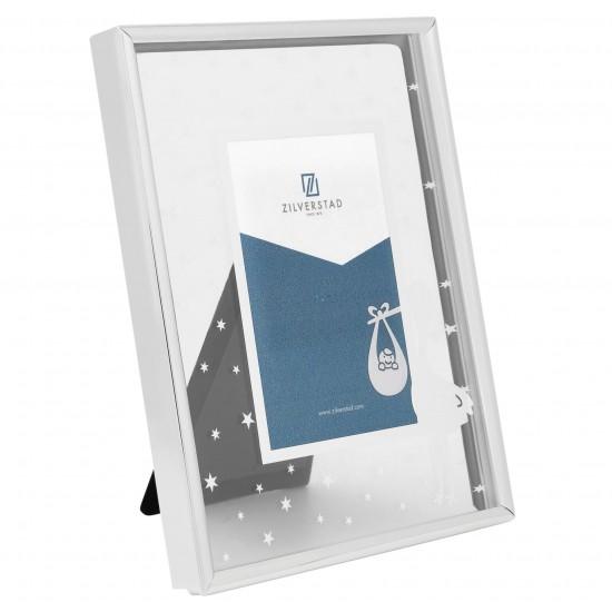 Zilverstad stork - frame - 5x8 cm - silver