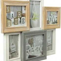 ZEP - TY1449 - Multi Wooden Frame Vincennes white / brown / grey for photos 3x 10x15 2x 13x18 1x 15x20